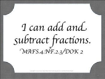 Florida 4th Fourth Grade MAFS Math Standards Posters Black Calligraphy