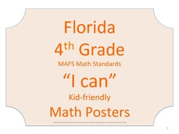 Florida 4th Fourth Grade MAFS Math Standards Posters No Border