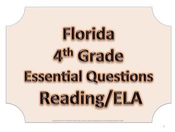 Florida 4th Fourth Grade ELA ESSENTIAL QUESTIONS No Border