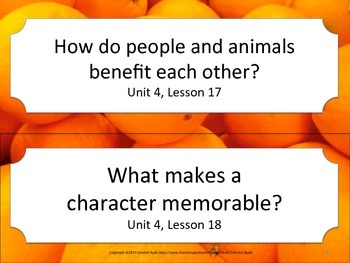 Florida 4th Fourth Grade ELA ESSENTIAL QUESTIONS Oranges