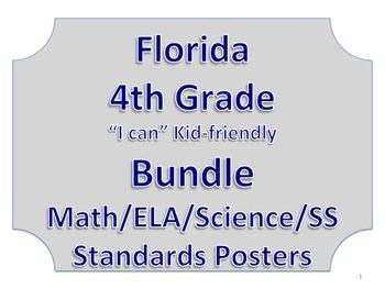 Florida 4th Fourth Grade Math ELA Science AND SS  Standards Bundle NO BORDER