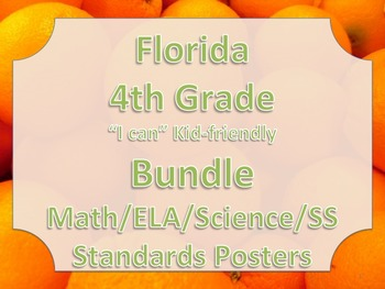 Florida 4th Fourth Grade Math ELA Science AND SS  Standards Posters Bundle