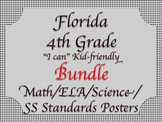 Florida 4th Fourth Grade Math ELA Science AND SS  Standards Posters Bundle BLACK
