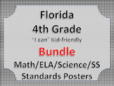 Florida 4th Fourth Grade Math ELA Science AND SS  Posters Bundle BLACK BLOCK