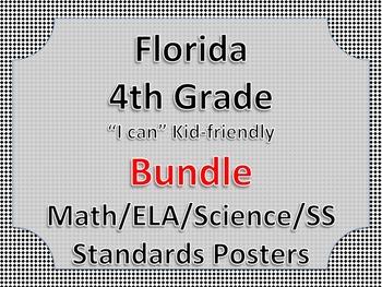 Florida 4th Fourth Grade Math ELA Science AND SS  Posters Bundle BLACK BLOCK