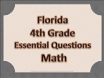 Florida 4th Fourth Grade Math ESSENTIAL QUESTIONS Black