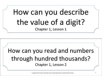 Florida 4th Fourth Grade Math ESSENTIAL QUESTIONS No Border