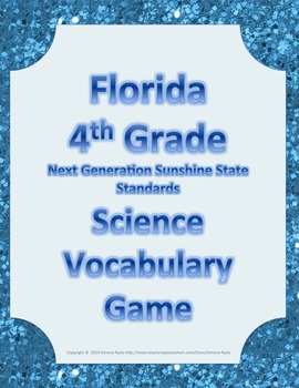 Florida 4th Fourth Grade NGSSS Science Vocabulary Game