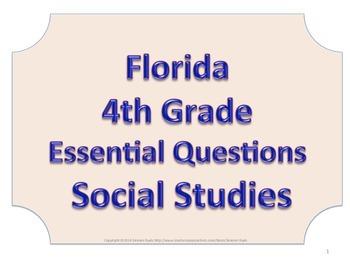 Florida 4th Fourth Grade SS Social Studies ESSENTIAL QUESTIONS No Border