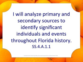 Florida 4th Fourth Grade SS Social Studies NGSSS I WILL Standards Posters