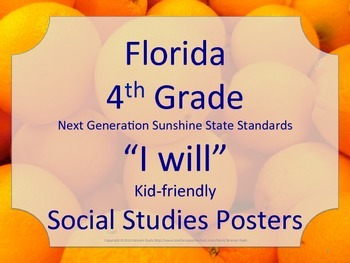 Florida 4th Fourth Grade SS Social Studies NGSSS I WILL St