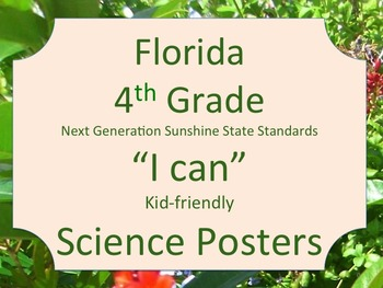 Florida 4th Grade Science Next Generation Sunshine State Standards NGSSS Posters
