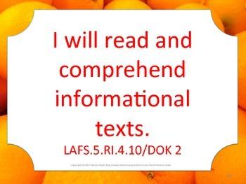 Florida 5th Fifth Grade LAFS ELA Language Arts I WILL Standards