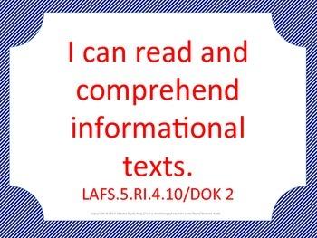 Florida 5th Fifth Grade LAFS ELA Language Arts Standards Blue Red
