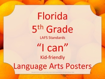 Florida 5th Fifth Grade LAFS ELA Language Arts Standards Posters