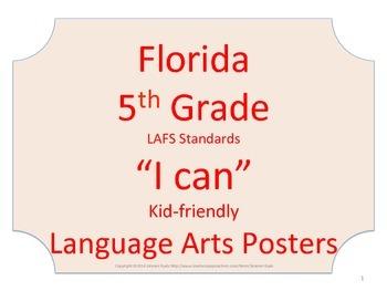 Florida 5th Fifth Grade LAFS ELA Language Arts Standards