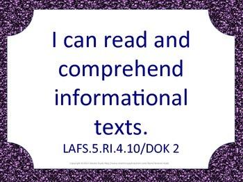 Florida 5th Fifth Grade LAFS ELA Language Arts Standards Purple