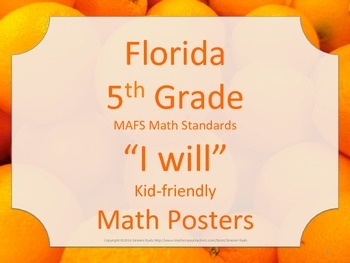 Florida 5th Fifth Grade MAFS I WILL Math Standards Posters