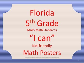 Florida 5th Fifth Grade MAFS Math Standards Posters Blue Red
