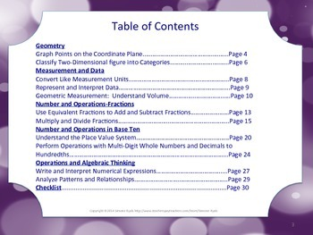 Florida 5th Fifth Grade MAFS Math Standards Posters Purple