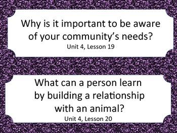 Florida 5th Fifth Grade ELA ESSENTIAL QUESTIONS Purple