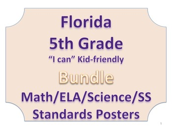 Florida 5th Fifth Grade Math ELA Science AND SS  Standards Bundle NO BORDER
