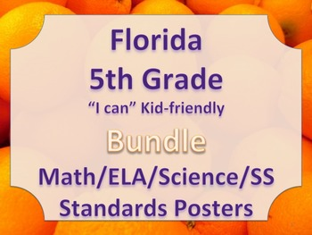 Florida 5th Fifth Grade Math ELA Science AND SS  Standards Posters Bundle
