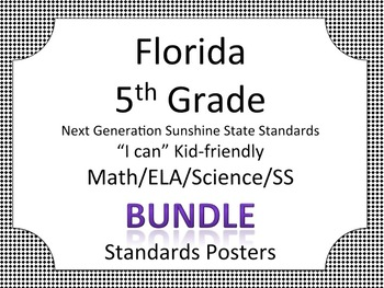 Florida 5th Fifth Grade Math ELA Science AND SS  Standards Posters Bundle BLACK