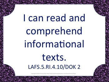 Florida 5th Fifth Grade Math ELA Science AND SS  Standards Posters PURPLE Bundle