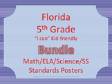 Florida 5th Fifth Grade Math ELA Science AND SS Standards Posters Red/BlueBundle