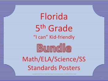 Florida 5th Fifth Grade Math ELA Science AND SS Standards