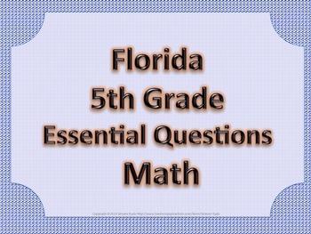 Florida 5th Fifth Grade Math ESSENTIAL QUESTIONS Blue