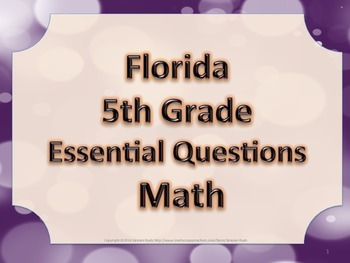 Florida 5th Fifth Grade Math ESSENTIAL QUESTIONS Purple