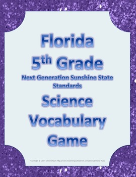 Florida 5th Fifth Grade NGSSS Science Vocabulary Game