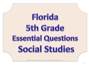 Florida 5th Fifth Grade SS Social Studies ESSENTIAL QUESTIONS No Border
