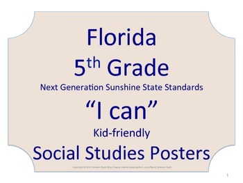 Florida 5th Fifth Grade SS Social Studies NGSSS Standards Posters NO BORDER