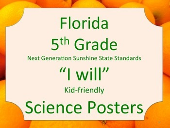 Florida 5th Fifth Grade Science Standards NGSSS I WILL Orange Border