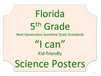 Florida 5th Fifth Grade Science Standards NGSSS No Border