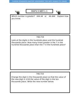 Florida 5th Grade Math Assessment NBT 1