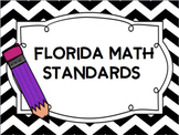 """Florida 5th Grade Math Standards/ """"I Can"""" Statements (Black and White Chevron)"""
