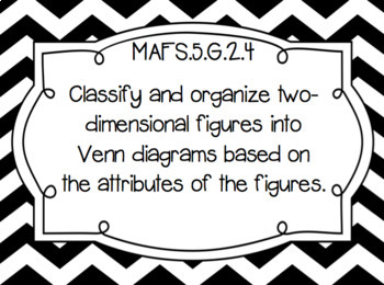 "Florida 5th Grade Math Standards/ ""I Can"" Statements (Black and White Chevron)"