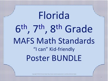 Florida 6th 7th 8th Grade MS Middle School MAFS Math Standards Posters BUNDLE
