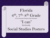 Florida 6th 7th 8th Grade MS Bundle SS Social Studies NGSSS Standards Posters