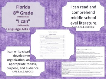 Florida 6th 7th 8th Grade Middle School Bundle LAFS ELA Standards
