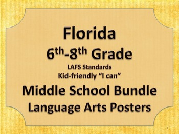 Florida 6th 7th 8th Grade Middle School Bundle LAFS ELA Standards