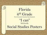 Florida 6th Grade SS Social Studies NGSSS Standards Posters
