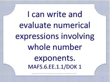 Florida 6th Sixth Grade MAFS Math Standards Posters