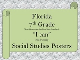 Florida 7th Grade SS Social Studies NGSSS Standards Posters