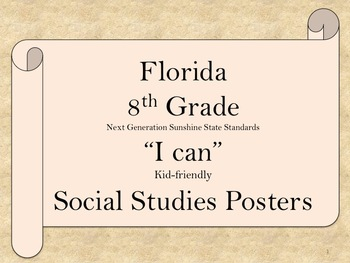 Florida 8th Grade SS Social Studies NGSSS Standards Posters