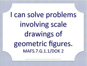 Florida 7th Seventh Grade MAFS Math Standards Posters